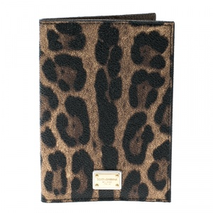 Dolce and Gabbana Brown Leopard Print PVC Passport Case