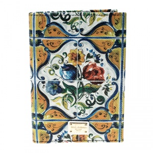 Dolce and Gabbana Multicolor Flower Print Leather Passport Holder