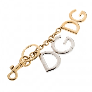 Dolce and Gabbana Two Tone Metal Logo Keyring
