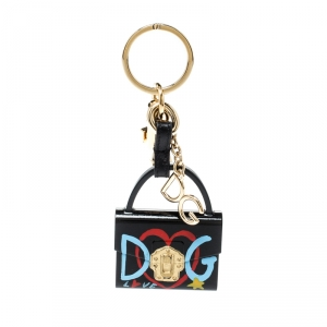 Dolce and Gabbana Lucia Black Bag Charm Key Chain