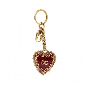 Dolce and Gabbana Red Heart Charm Textured Gold Tone Key Chain