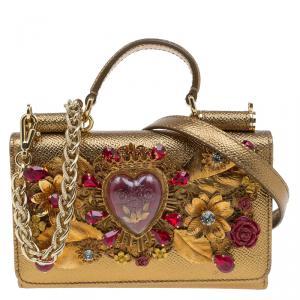 Dolce and Gabbana Gold Leather Sicily Von Smartphone Bag