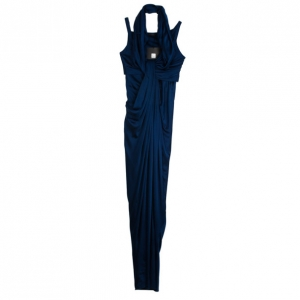 Donna Karan Collection Blue Silk Evening Gown S