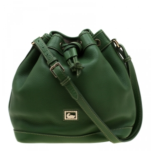 Dooney and Burke Green Leather Drawstring Hobo