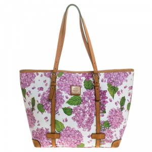 Dooney and Bourke Multicolor Floral Print Coated Canvas Shopper Tote
