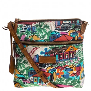 Dooney and Bourke Multicolor Printed Nylon and Leather Crossbody Bag