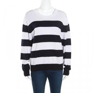 Dries Van Noten Monochrome Striped Cotton Rib Knit Jaimin Sweater L
