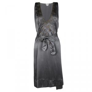 Dries Van Noten Grey Silk Embellished Embroidered Sleeveless Belted Dress S
