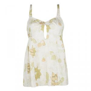 Dries Van Noten Beige Textured Silk Floral Print Sleeveless Top S
