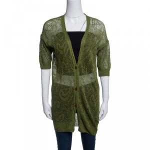 Dries Van Noten Green Perforated Knit Short Sleeve Cardigan S