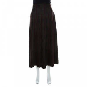 Dries Van Noten Olive Green and Burgundy Silk Brocade Pleated Skirt L