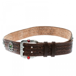 Dsquared2 Brown Leather Studded Belt Size 80 CM