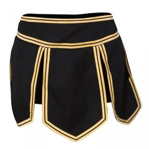Dsquared2 Black Wool Gold Trim Detail Mini Skirt S