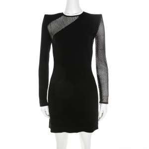 Dsquared2 Black Crepe Mesh Insert Melissa Bodycon Dress S