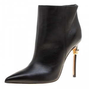 Dsquared2 Black Leather Babe Wire Pointed Toe Ankle Boots Size 36