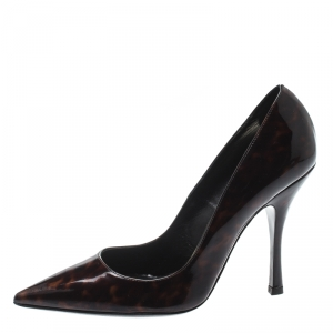 Dsquared2 Brown Tortoise Patent Leather Pointed Toe Pumps Size 39
