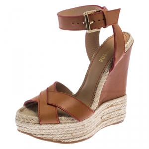 Dsquared2 Brown Leather Wedge Espadrille Platform Sandals Size 37