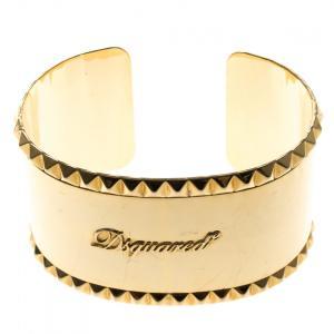 Dsquared Gold Tone Wide Open Cuff Bracelet
