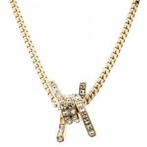 DSquared2 Barbed Wire Crystal Gold Tone Pendant Necklace