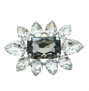Dsquared2 Crystal Flower Silver Tone Pin Brooch