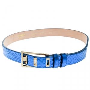 Dsquared2 Metallic Blue Python Leather Belt Size 80 CM