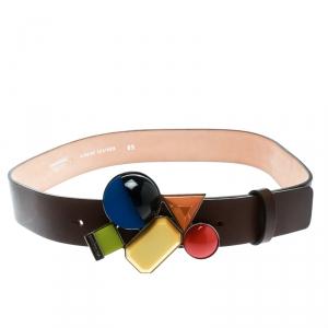 Dsquared2 Brown Leather Buckle Embellished Belt Size 85 CM