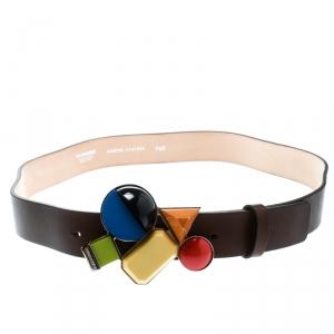 Dsquared2 Brown Leather Buckle Embellished Belt Size 100 CM