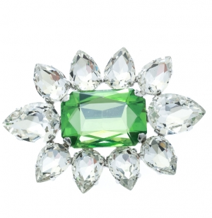 Dsquared2 Green Crystal Flower Silver Tone Pin Brooch