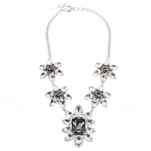 Dsquared2 Crystal Flower Silver Tone Choker