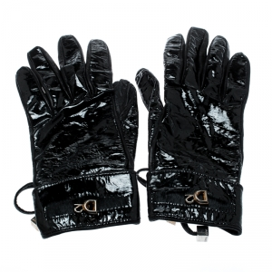 Dsquared2 Black Patent and Leather Gloves M