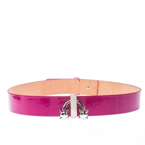 Dsquared2 Pink Patent Leather Spike Buckle Belt 85CM