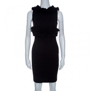 DSquared2 Black Jersey Ruffle Trim Sleeveless Bodycon Dress S - used