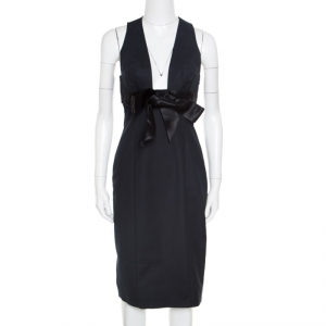 Dsquared2 Black Cotton Satin Bow Detail Plunge Neck Sleeveless Dress M - used
