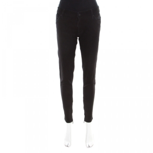 Dsquared2 Black Washed Denim Zip Detail Distressed Jeans M