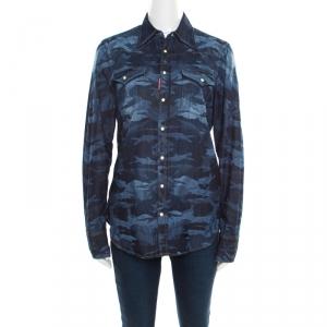 Dsquared2 Indigo Dark Wash Camouflage Effect Denim Shirt L