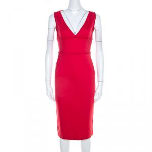 Dsquared2 Coral Pink Jersey Knit V Neck Sheath Dress M