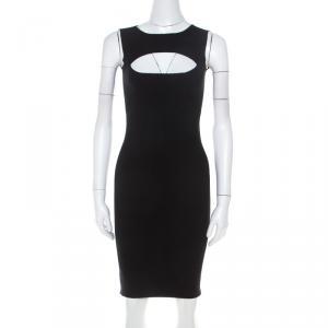 Dsquared2 Black Stretch Cotton Cutout Detail Sleeveless Sheath Dress XS - used