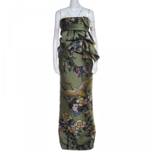 Dsquared2 Green Cherry Blossom Print Silk Draped Bodice Strapless Dress M