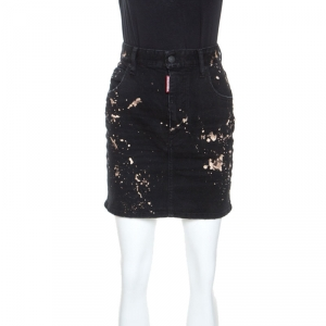 Dsquared2 Black Distressed Denim Splatter Bleach Detail Short Skirt S