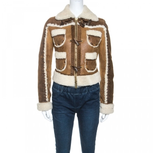 Dsquared2 Brown Suede Shearling Jacket M - used