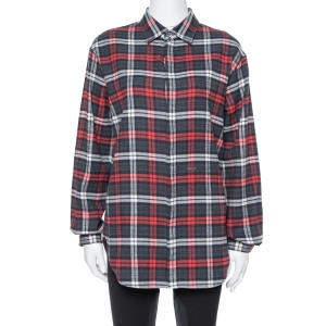 Dsquared2 Red & Grey Cotton Checked Flannel Shirt M - used
