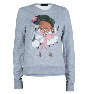 Dsquared2 Grey Graphic Printed Embellished Sweatshirt M