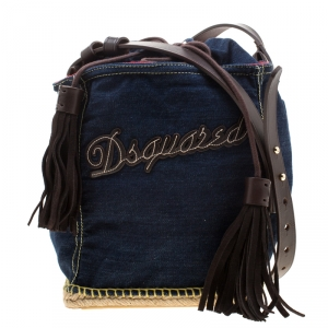 Dsquared2 Blue/Brown Denim Drawstring Shoulder Bag
