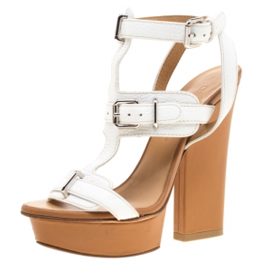Dsquared2 White Leather T Strap Ankle Wrap Platform Sandals Size 36