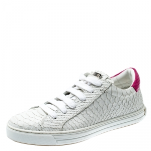 Dsquared2 White And Pink Python Embossed Leather Santa Monica Sneakers Size 37