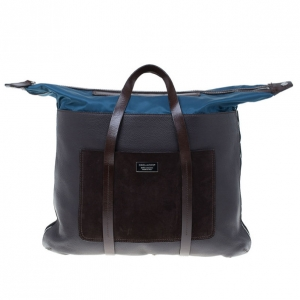 Dsquared2 Brown Leather and Nylon Travel Tote