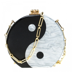 Edie Parker Black/Sliver Acrylic Yin Yang Clutch