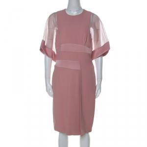 Elie Saab Blush Pink Sheer Sleeve Detail Cocktail Dress S