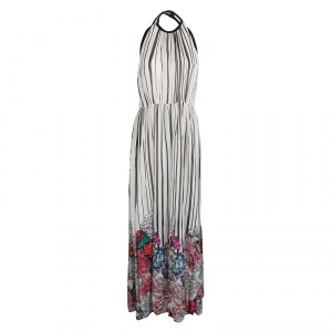 Elie Saab Monochrome Striped Silk Floral Print Halter Maxi Dress S - used