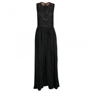 Elie Saab Black Eyelet Embroidered Gathered Sleeveless Maxi Dress S used